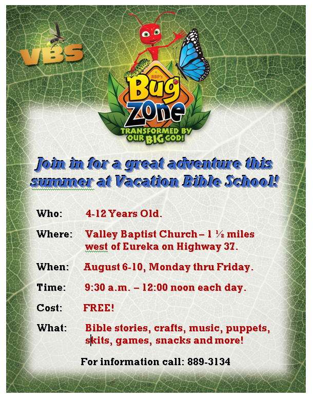 Bug Zone Vacation Bible School 2018