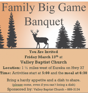 Family Big Game Banquet 2020